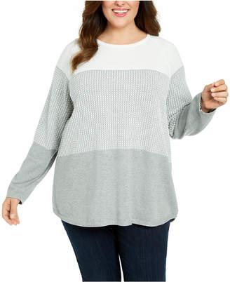 Karen Scott Plus Size Colorblocked Cotton Sweater