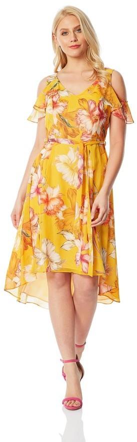 M&Co Roman Originals floral hanky hem cold shoulder dress