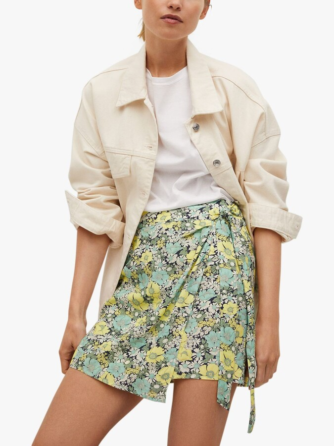 Thumbnail for your product : MANGO Floral Tie Waist Mini Wrap Skirt, Green