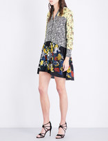 Sandro Floral contrast-panel crepe and silk-crepe dress