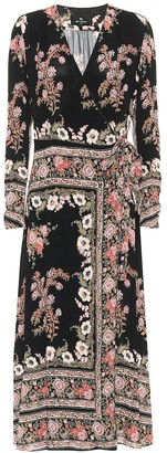 Etro Floral sablA midi wrap dress