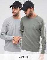 Asos Sweatshirt With Logo 2 Pack Gray Marl/Washed Khaki SAVE