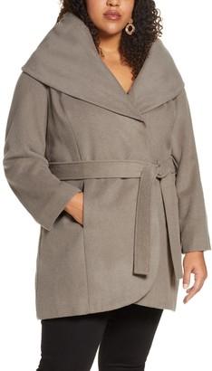 Halogen Wool Blend Hooded Wrap Coat