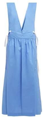 MM6 MAISON MARGIELA V-neck Tie-detail Cotton Dress - Womens - Blue