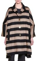 Stella McCartney Button-Front Striped Oversized Coat, Elephant