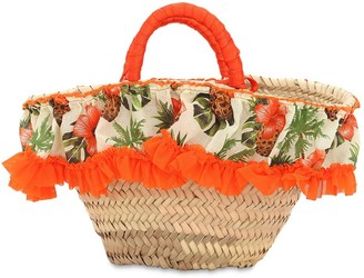 Selini Action Straw Handbag W/ Floral Print Ruffle