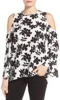 Vince Camuto Petite Women's Print Cold Shoulder Blouse