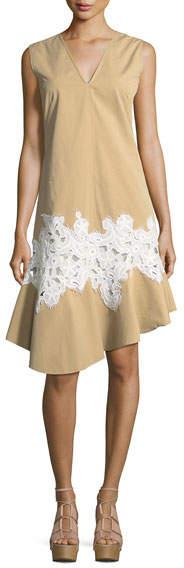 Derek Lam Twill Lace-Inset V-Neck Dress