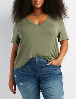 Charlotte Russe Plus Size O-Ring T-Strap Boyfriend Tee