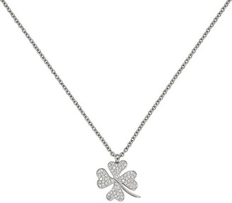 Steel By Design Stainless Steel Crystal Four-Leaf Clover Pendant with Chain