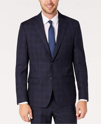 DKNY Men Modern-Fit Stretch Navy/Light Blue Windowpane Suit Separate Jacket