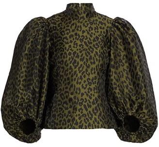 Ganni Leopard Balloon-Sleeve Blouse