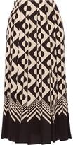 Gucci Pleated Printed Silk Crepe De Chine Midi Skirt - Black