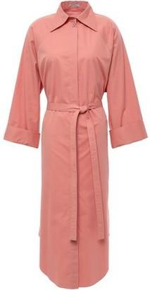 Nina Ricci Belted Shirred Cotton-poplin Midi Shirt Dress