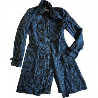 Burberry Blue Silk Trench Coat for Women