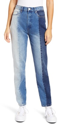 Blank NYC Patchwork Ultra High Waist Straight Leg Jeans