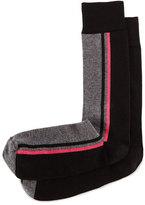 Jonathan Adler Side-Stripe Knit Socks, Black/Charcoal