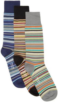 Paul Smith Three-Pack Multicolor Multi Stripe Socks