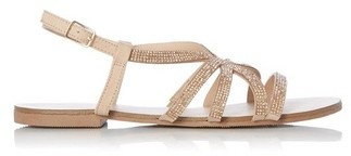 Dorothy Perkins Womens Head Over Heels By Dune Rose Gold 'Neema' Ladies Flat Sandals, Rose Gold