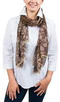 Ungaro Un7018 S7802 Animal Print Brown Silk Scarf.