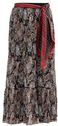 Zimmermann Ladybeetle Pleated Floral-print Georgette Skirt - Black Multi