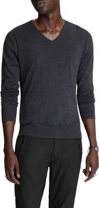 John Varvatos Men's Arlington Melange V-Neck Sweater