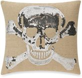 Crossbones Halloween Square Throw Pillow in Silver