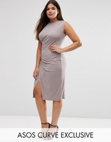 Asos Midi Dress With Drape Side