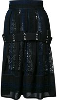 Sacai embroidered belted skirt