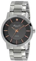 Kenneth Cole Mens Stainless Steel Bracelet Watch with Diamond Embellishment