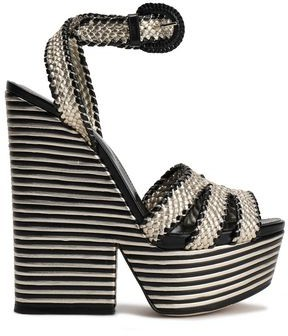 Sergio Rossi Metallic Woven Leather Platform Sandals