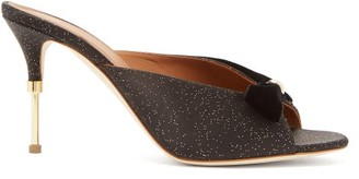 Malone Souliers Paige Velvet-trimmed Satin Mules - Black Gold