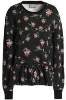 Preen by Thornton Bregazzi Floral-Print Cotton-Terry Peplum Sweatshirt