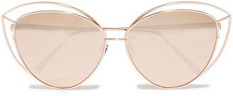 Linda Farrow Lorita Cat-eye Rose Gold-tone Mirrored Sunglasses