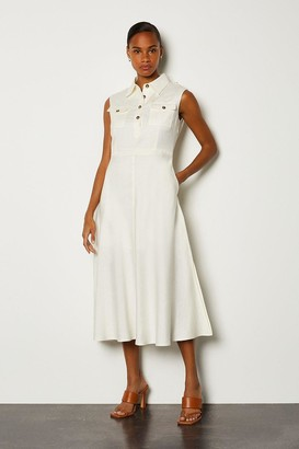 Karen Millen Linen Blend Button Through Utility Dress