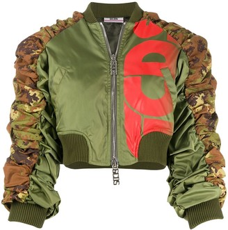 GCDS Cropped Ruched Bomber Jacket