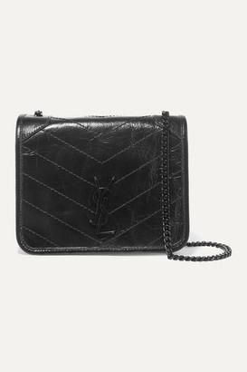 Saint Laurent Niki Mini Crinkled Glossed-leather Shoulder Bag - Black