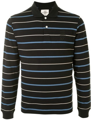 Kent & Curwen Long Sleeve Stripe Print Polo Shirt