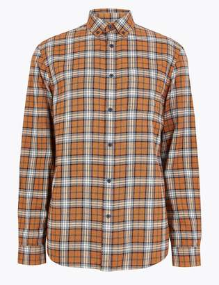 Marks and Spencer Brushed Cotton Check Flannel Shirt