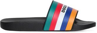 DSQUARED2 Logo Stripes Rubber Slide Sandals