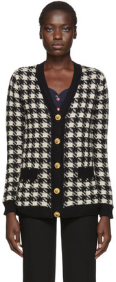 Gucci Black and Off-White Oversized Houndstooth Cardigan