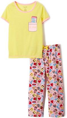 Rene Rofe Girl Girls' Sleep Bottoms CONVERCHAR - Yellow & Pink Ringer Pajama Set - Girls