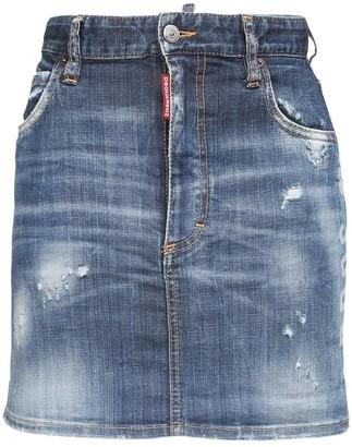 DSQUARED2 Distress Stretch Cotton Denim Mini Skirt