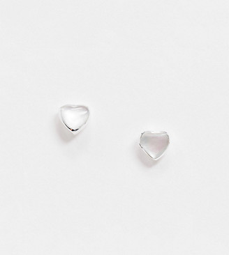 ASOS DESIGN sterling silver stud earrings with faux pearlized stone heart
