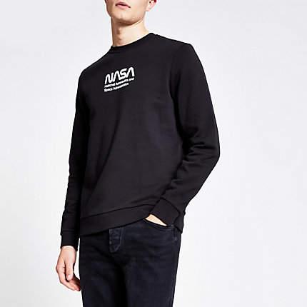 River Island Only and Sons black Nasa print sweatshirt
