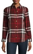 Burberry Long-Sleeve Button-Front Check-Flannel Shirt, Red