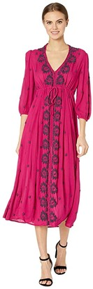 Free People Embroidered V Maxi Dress (Raspberry) Women's Dress