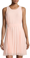Max Studio Sleeveless Fit-and-Flare Pleated Dress, Peach Melba