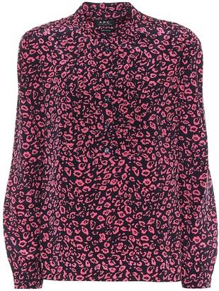 A.P.C. Diana cheetah-print silk blouse
