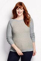 Classic Women's Plus Size Cotton Diamond Crewneck Sweater-Ivory